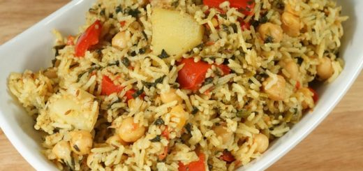 Chana and palak pulao